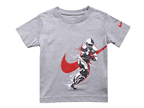 Nike Brush Football Player T-Shirt Dark Grey Toddler Boy's Short Sleeve Sz: 2T