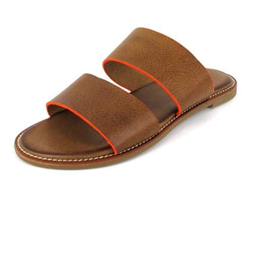 Inuovo Pantolette Sandals Größe 39, Farbe: Camel-Neon Orange
