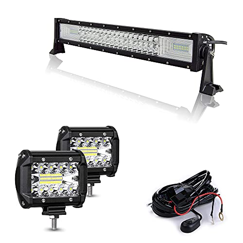 EKLAMP 22 pulgadas 270W Barra de luz de trabajo de triple fila curva 7D LED,haz combinado de punto de inundacióncon arnés de cableado DC12V-24V 6500K para vehículos todo terreno 4x4 SUV ATV UTV
