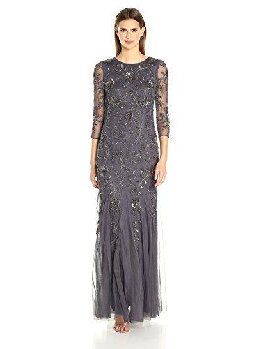 Adrianna Papell Women's L/s Beaded Mermaid Long Gown, Gunmetal, 6 (Apparel)