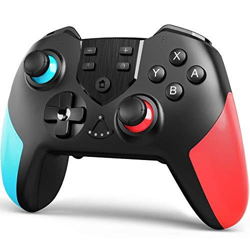 TERIOS Wireless Controller für Nintendo Switch - Premium Joypad für Videospiele - Remote Joystick für Gamer - 3 Stufen der Turbogeschwindigkeit - Einstellbare Vibrationsintensität (Blau & Rot)