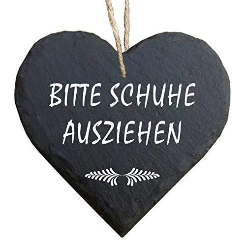 Homeyourself Herz Schieferherz Schiefer Schieferschild 10 x 10 cm Bitte Schuhe ausziehen schwarz Dekoschild Wandschild Schild Stein Schuhschild