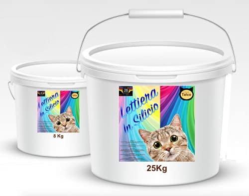 Arena para gatos de sílice perfumada de 8 kg o 25 kg deshidratada purificada con cal perfumada absorbente (25 kg)
