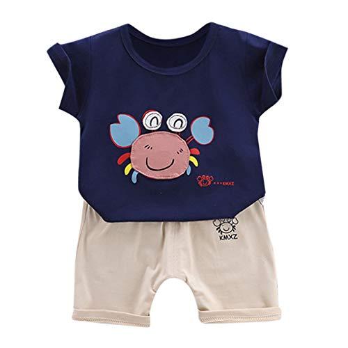 Amuse-MIUMIU Baby Jungen Kleidung Set Kleinkind Baby Jungen Mädchen Sommer Outfits Set Cartoon Kurzarm T-Shirt Tops mit elastischen Shorts Hose Gr. 86, Navy