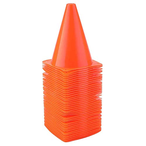 Faswin 40 Pack 7 Inch Traffic Cone, Plastic Soccer Training Cones for Outdoor Activity & Festive Events, Orange
