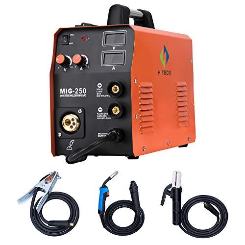 HITBOX Soldador inverter 3 en 1 220V 250A Máquina de soldadura soldador de hilo con gas/sin gas, inverter IGBT, corriente de salida 10A-180A, con pistola de soldadura MB15