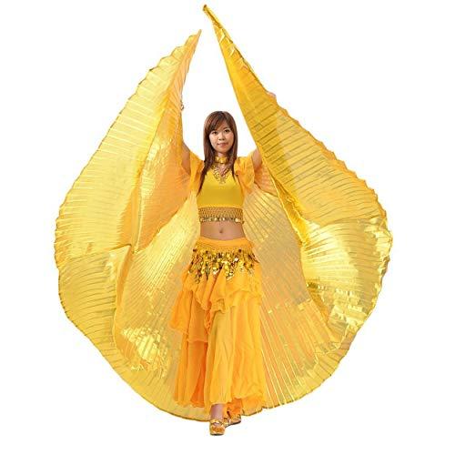 Lorenlli Alas de Abanico para Danza del Vientre Egipto Baile ala de Oro Bellydance Performance Silver Wing Accesorios de Danza del Vientre
