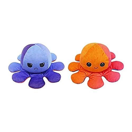 GJH Peluche de Pulpo Reversible 20 cm, Bonitos Juguetes de Peluche, Mini Muñeco Vibrante de Doble Cara el Pulpo Reversible Original de Felpa Niños (Naranja y Morado)