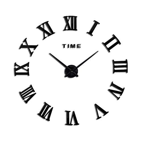 Waterdichte Wall Clock, 3D Cijfers Clock Frameless spiegelend oppervlak wandklok & Outdoor Beautiful Decor alarm clock (Color : A, Size : 70~120cm)