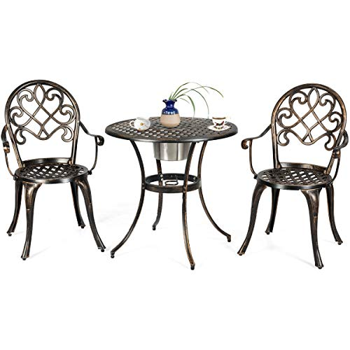 COSTWAY 3 Piece Bistro Set Metal Dining Sets, Garden Table 2 Seaters with Ice Bucket, Patio Desk and Chairs Indoor Outdoor Furniture Sets for Home Yard Balcony