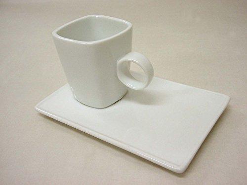 Taza Y Plato Cafe 90 ML Cuadrada Ming PEQUEÑA Bandeja Rectangular Agujero Porcelana Blanco