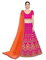 KEDARFAB Womens Taffeta Silk Lehenga Choli With Blouse Piece (Orange And Pink_Semi Stitched_Free Size)