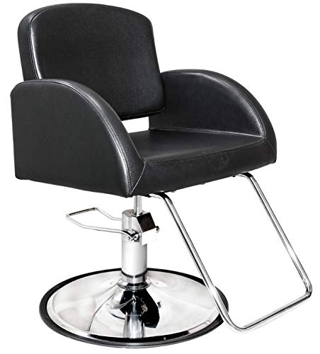 Chromium Salon Styling Chair [2078] by PureSana, Sealed Hydraulic Pump, Premium Vinyl Material, Adjustable Height and Rotates 360 Degrees, Salon Quality for Beauty Professionals