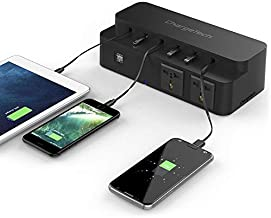 ChargeTech Cell Phone & Laptop Charging Station Dock - Multi-Port Charger Comes with 8 Universal Retractable Charging Tips for All Devices (Fast Charge Rapid Charging Supported) [Black]