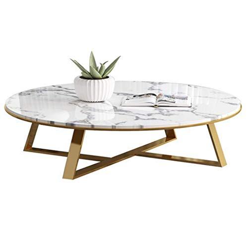 Table Basse Ronde élégante et Moderne - Cadre doré en métal et Bureau en marbre - Idéale pour Le Salon/Le Balcon/Le Snack/la Table de Nuit, Les Meubles indispensables