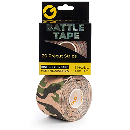 Gold BJJ Precut Kinesiology Tape - Waterproof 20 Strip Roll for Brazilian Jiu Jitsu, Judo Wrestling, Mixed Martial Arts - Reduce Knee, Back, Neck, Elbow & Shoulder Pain (Camo, 1 Roll)