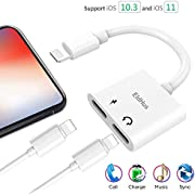 EldHus sb001 Headphone Adapter Splitter, Etre Jeune Headphone Jack Audio & Charge Connector Calling/Charger/Music/Remote Control Compatible for iPhone 7/7 plus/8/8 plus/X/XS/XR/XS/MAX