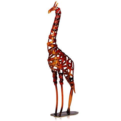 TOOARTS - Escultura Metálica Hecha a Mano - JIRAFA - Aparatos de Hierro Decorativo para la Decoración del Hogar (Obra de Artesanía)