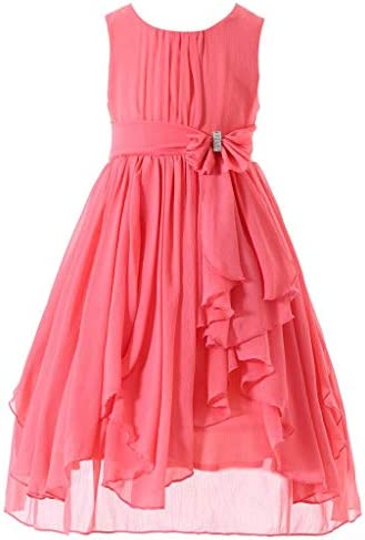 Bow Dream Flower Girl Dress Bridesmaid Ruffled Chiffon Coral 4 product image