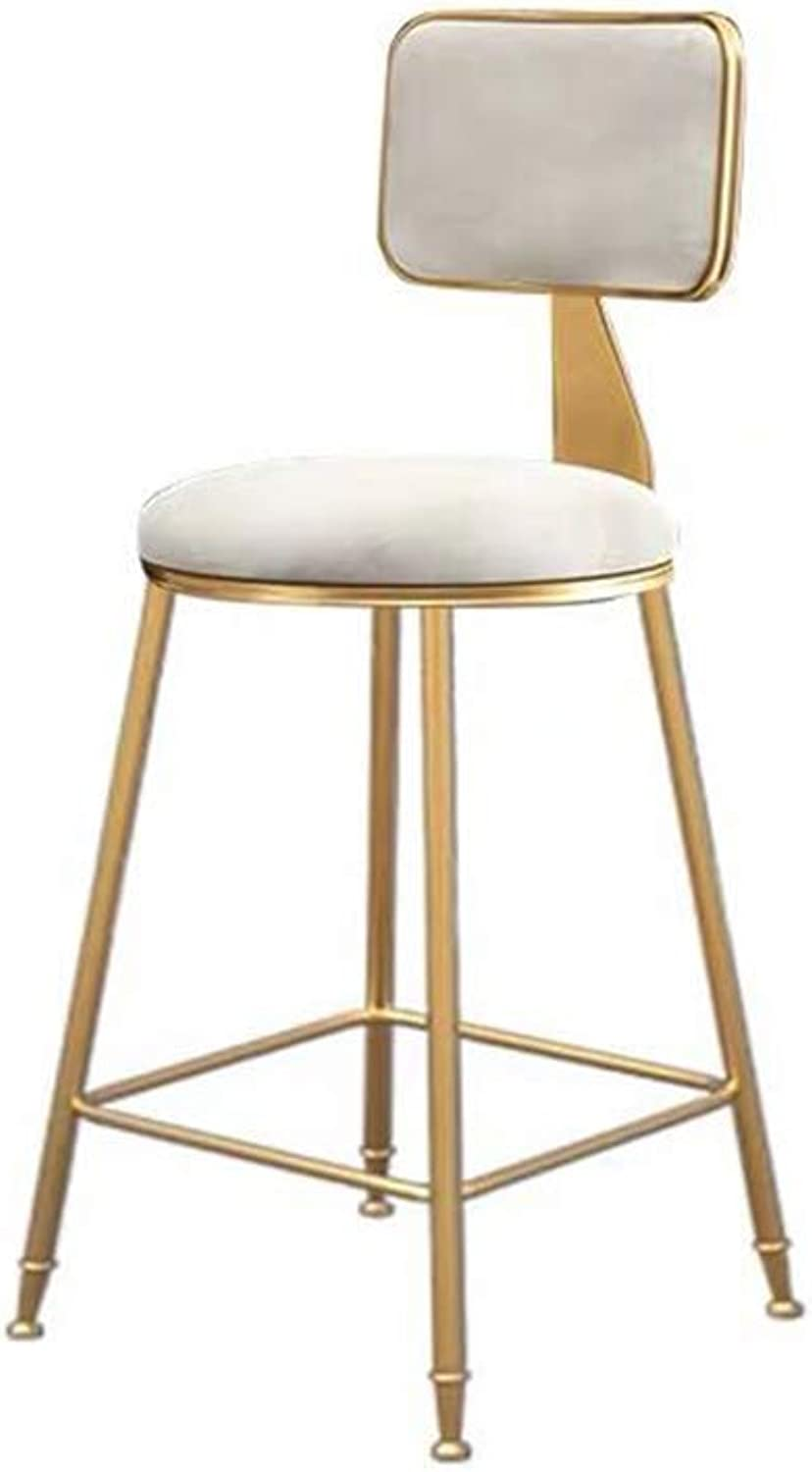 Barstools DOOST Stool bar Chair, gold Metal Leg Velvet seat, Padded Dining Chair bar Kitchen with backrest Bearing Weight 200kg