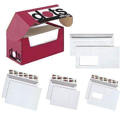 250 dots Briefumschläge DIN lang mit Fenster und Selbstklebeverschluss