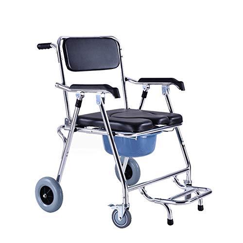 Z-SEAT Silla de Ruedas para Inodoro para Adultos, con Rueda de Freno Accesorio de Seguridad para discapacitados Marco Plegable Silla de Ducha antivuelco Pedal Desmontable