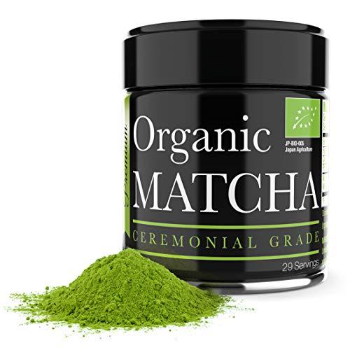 Tè matcha di grado cerimoniale - Polvere di tè verde matcha biologico - 28 g - Matcha giapponese della miglior qualità - Perfetto per cerimonia del tè e detox olistico - Aumenta la vitalità