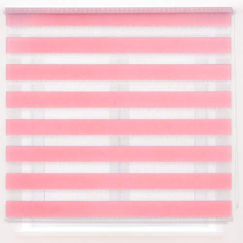 Dalina Textil Estor Enrollable de Doble Capa Noche y Día (Rosa, 160x180cm)