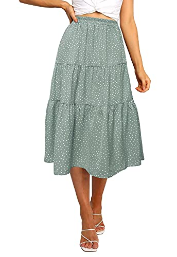 MEROKEETY Womens Elastic High Waist Leopard Print Polka Dot A-Line Swing Midi Skirt (02-LightGreen, Medium)