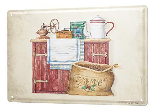 LEotiE SINCE 2004 Targhe Cartello Targa in Metallo Decorazione della Parete Cucina Macinino da caffè e Chicchi di caffè Cabinet