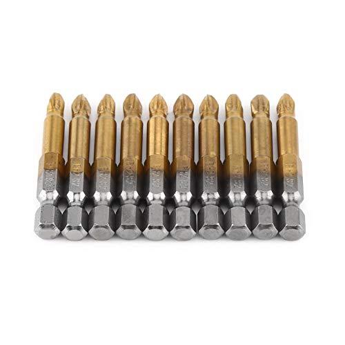 Juego de puntas de destornillador de cabeza cruzada antideslizantes, 10 piezas, 2 pulgadas, magnéticas PH2 Phillips, brocas de potencia, vástago hexagonal de 1/4 pulgadas