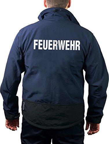 Feuer1 Veste de travail en softshell bleu marine, pompiers argent réfléchissant XXL bleu marine
