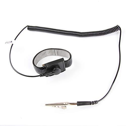 静電気防止ESD調整可能な金属製リストストラップ | FEITA静電気防止リストバンド、8フィートのコイル状コード付き ブレスレット、個人用安全保護具、黒 - 1個