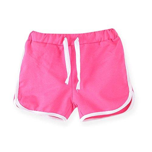 LaoZanA LaoZanA Kinder Jungen Mädchen Kordelzug Sommer Shorts Kurze Hose Hotpants Rose 100