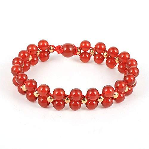 Stone Bracelet,Vintage Boho Unisex 7 Chakra Natural Beads Adjustable Bangle Red Agate Stone Double Layer Beaded Bracelets Birthday Party For Women Men Friend Gift