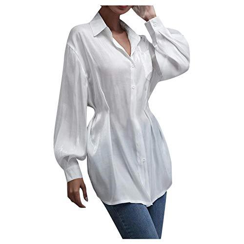 YANFANG Blusa de línea Larga Sedosa con Botones de Bolsillo de Parche sin cinturón para Mujer,Túnica Camiseta Básica Slim Fit de Color Liso Camisa Pullover, L,White