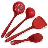 BEP Juego De Utensilios De Cocina, Utensilios De Cocina Silicona De 4 Piezas Herramientas Cocina Antiadherentes Y Resistentes Al Calor,Rojo