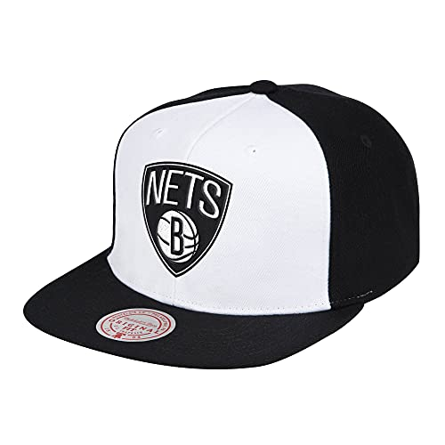 Mitchell & Ness NBA Front Post Brooklyn Nets - Gorra, color blanco y negro