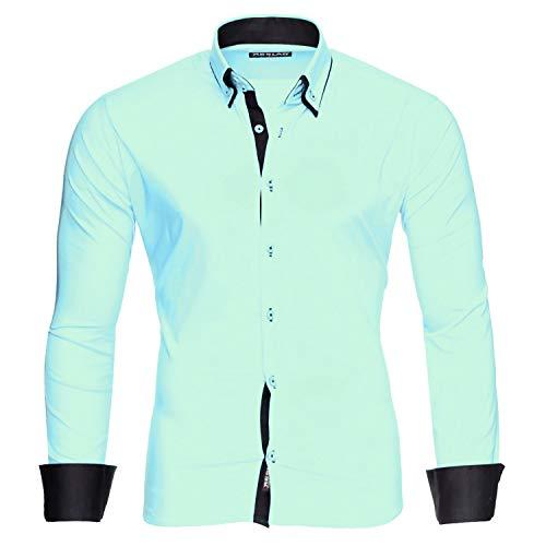 Reslad Herren Hemden bügelfreies Slim Fit Freizeithemd Männer Hemd Businesshemd zweifarbig 2 Kragen RS-7050 Mint Schwarz Gr L