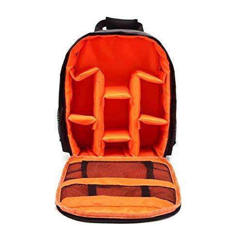 Mochila para cámara réflex digital / SLR, de nailon, impermeable, para portátil, para cámara Canon, Nikon, Sony, cámara sin espejo, flash y otros accesorios (naranja)