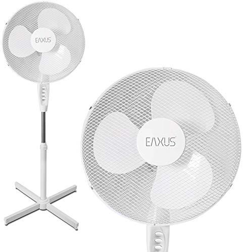 Eaxus® Silent Standventilator 40W - Leiser Ventilator mit 3 Geschwindigkeitsstufen, Höhenverstellbar bis 1,25 Meter, Weiß
