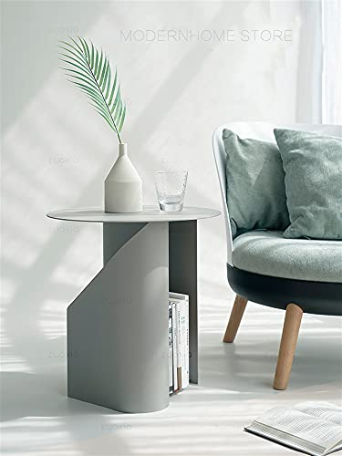 SHUJINGNCE Classic Nice Design Metal Loft Sala de Estar Tamaño Pequeño Color Suave Rosa Verde Sofá Redondo Mesa de Esquina Side con Almacenamiento 1pc (Color : Green)
