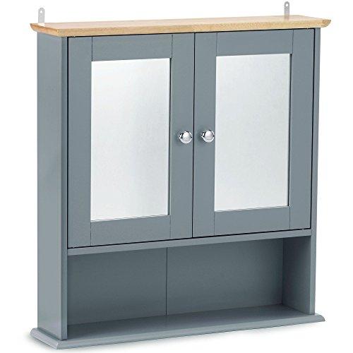 VonHaus Badezimmer Spiegelschrank – Medizinschrank mit Regalfächern – Zur Befestigung an der Wand – Modernes Grau