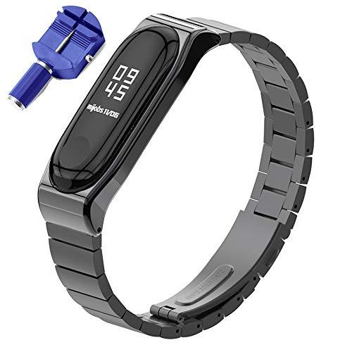 Shenghuo Metal Smart Watch Strap compatibel met Xiaomi mi band 4 / mi band 3, RVS Vervangende Band Polsband, Zwart