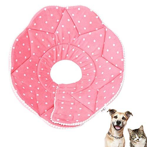 Collare per ferite per il recupero degli animali domestici, panno di nylon Collare cono protettivo morbido petalo rosa Collare elisabettiano per cuccioli cani di piccola taglia e gatti(XL-Petalo rosa)