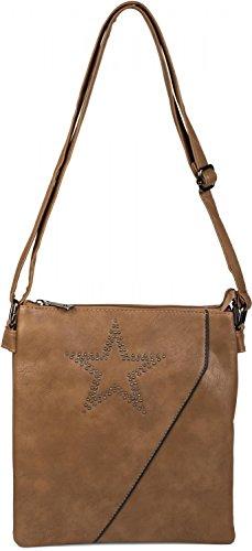 styleBREAKER Messenger Bag Umhängetasche mit Nieten Stern und überlappender Optik, Schultertasche, Handtasche, Damen 02012105, Farbe:Camel-Braun