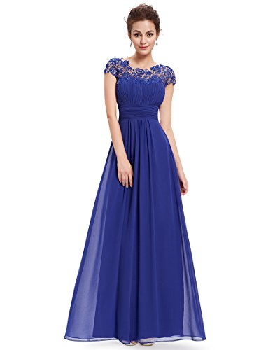 Ever Pretty Women's Black Lacey Neckline Open Back Ruched Bust Evening Gown, Sapphire Blue, 10