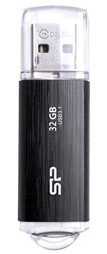 シリコンパワー USBメモリ 32GB USB3.1 & USB3.0 ヘアライン仕上げ 永久保証 Blaze B02 SP032GBUF3B02V1K