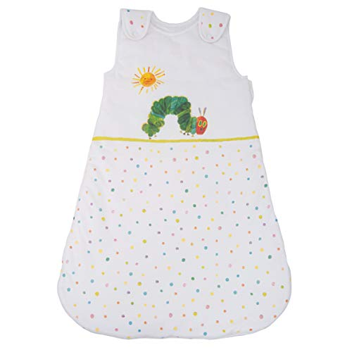 Herding RAUPE NIMMERSATT Baby-Schlafsack, 70 cm, Seitlich umlaufender Reißverschluss und Druckknöpfe, Weiß