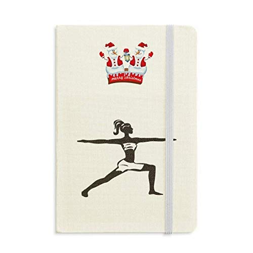 Yoga Girl Keep Healthy Sports Outline Christmas Snowman Notebook grueso tapa dura